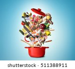 big red pot with vegetables and ... | Shutterstock . vector #511388911