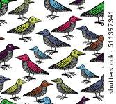 doodle cute ravens vector... | Shutterstock .eps vector #511397341