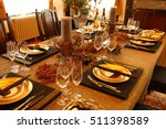 christmas party banquet table | Shutterstock . vector #511398589