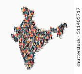 People Map Country India Vector