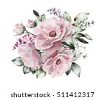 Watercolor Flowers. Floral...