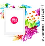 tablet pc icon with abstract... | Shutterstock .eps vector #511413547