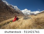 tourist man sitting and relax... | Shutterstock . vector #511421761
