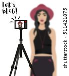 vector illustration with girl... | Shutterstock .eps vector #511421875