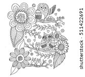 owls with flower and butterfly... | Shutterstock .eps vector #511422691