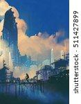 sci fi cityscape with slum and... | Shutterstock . vector #511427899