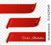 Set of red curved paper blank banners  isolated on transparent background. Vector illustration | Shutterstock vector #511429549