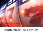 Lucky Slot Machine Win. Casino Gambling Concept 3D Render Illustration. Lucky Sevens. - stock photo