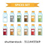 set spices in jars  flat style. ... | Shutterstock .eps vector #511445569