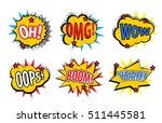 set comic stickers  retro style.... | Shutterstock .eps vector #511445581