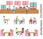 people in sweet bakery cafe set ... | Shutterstock .eps vector #511450291