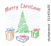crayon child's drawing merry... | Shutterstock .eps vector #511451635