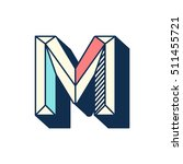 m letter abstract retro pop... | Shutterstock .eps vector #511455721