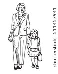 mother with daughter walking to ... | Shutterstock .eps vector #511457941