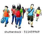 people walking pen and ink... | Shutterstock . vector #511459969