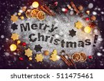 card with gingerbread  merry... | Shutterstock . vector #511475461