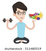 healthy sportsman with fruits