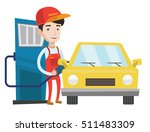 gas station worker filling up... | Shutterstock .eps vector #511483309