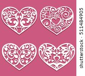 set of laser cut hearts.... | Shutterstock .eps vector #511484905