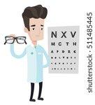 caucasian male oculist doctor... | Shutterstock .eps vector #511485445
