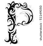decorative letter. font type p | Shutterstock .eps vector #51149050