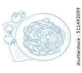 spaghetti with basil and... | Shutterstock .eps vector #511492099