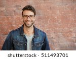 smiling trendy guy with blue... | Shutterstock . vector #511493701
