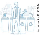 man throwing away plastic... | Shutterstock .eps vector #511493854