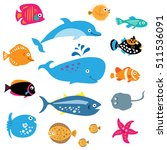 a collection of a exotic marine ... | Shutterstock . vector #511536091