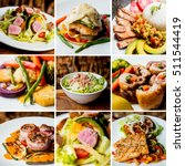 collage of grilled salad with... | Shutterstock . vector #511544419