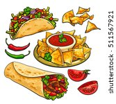 set of traditional mexican food ... | Shutterstock .eps vector #511567921