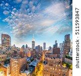 Sunset Aerial View Midtown Manhattan - Fine Art prints