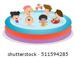 kids in a swimming pool ... | Shutterstock .eps vector #511594285