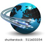optical fibers around earth | Shutterstock . vector #511603354
