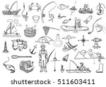 hand drawn icons about fishing... | Shutterstock .eps vector #511603411
