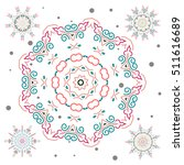 Set Of 5 Abstract Snowflakes....