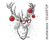 beautiful deer with christmas... | Shutterstock .eps vector #511639729