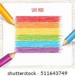 rainbow stripes drawn with... | Shutterstock .eps vector #511643749