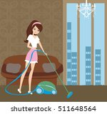 girl with wireless vacuum... | Shutterstock . vector #511648564