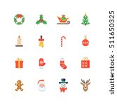 set of flat christmas icons...