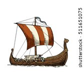 viking drakkar. sailing ship... | Shutterstock .eps vector #511651075