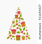 christmas tree shape. vector... | Shutterstock .eps vector #511654327