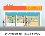 people in supermarket. interior ... | Shutterstock .eps vector #511654909