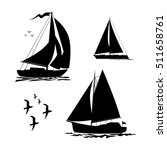Yacht  Sailboats And Gull Set...