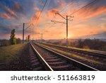 railroad against beautiful sky... | Shutterstock . vector #511663819