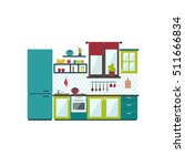 kitchen interior in flat style. ... | Shutterstock .eps vector #511666834