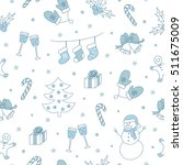 Winter seamless pattern with christmas tree, snowman, gingerbread, holly berry, etc. Vector illustration.