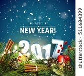 happy new year 2017   greeting... | Shutterstock .eps vector #511684399