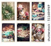 set christmas different cards... | Shutterstock . vector #511684969