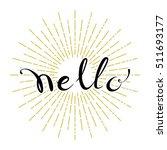 hello hand drawn lettering on... | Shutterstock .eps vector #511693177